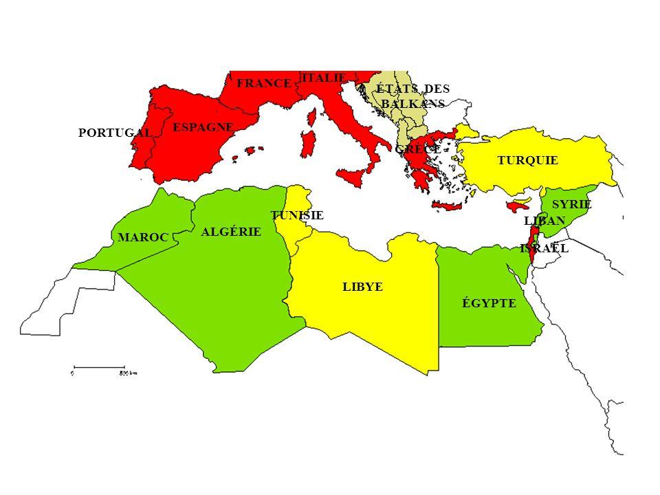 PORTUGAL ESPAGNE FRANCE ITALIE ÉTATS DES BALKANS GRÈCE TURQUIE SYRIE ÉGYPTE LIBYE ALGÉRIE TUNISIE MAROC LIBAN ISRAËL