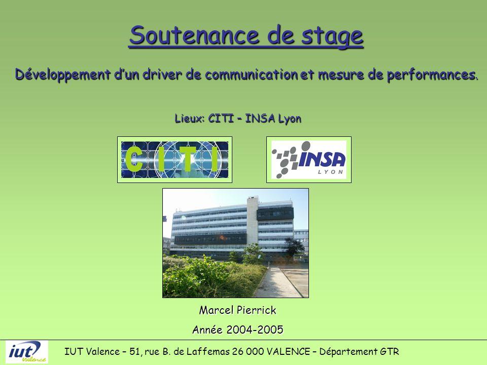 Soutenance de stage Lieux: CITI – INSA Lyon Marcel Pierrick Année 2004-2005 IUT Valence – 51, rue B.