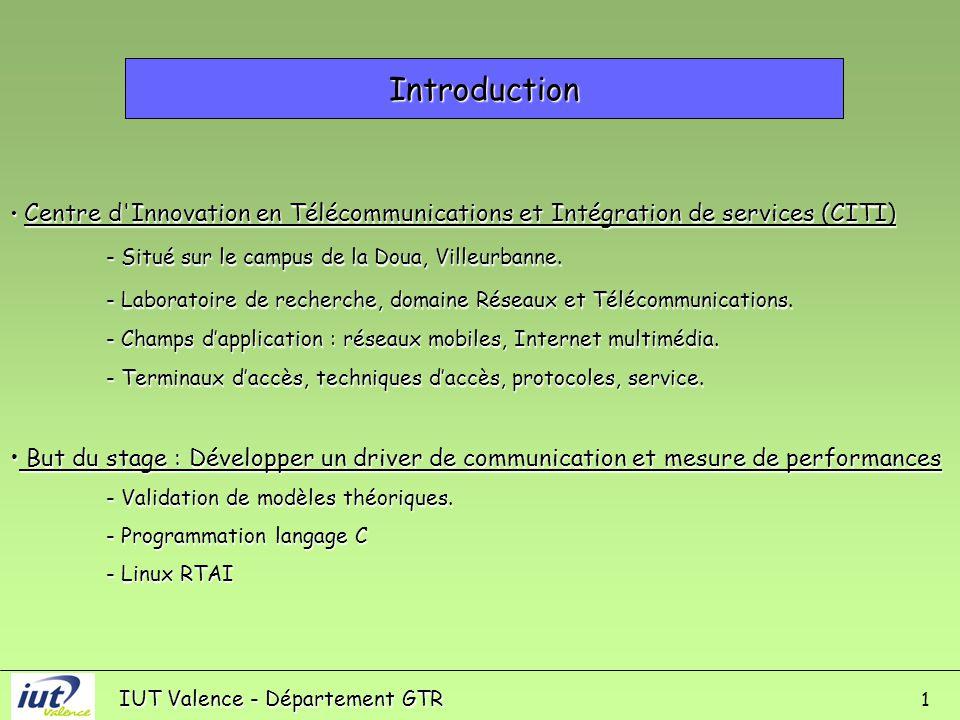 IUT Valence - Département GTR Introduction 1 Centre d Innovation en Télécommunications et Intégration de services (CITI) Centre d Innovation en Télécommunications et Intégration de services (CITI) - Situé sur le campus de la Doua, Villeurbanne.