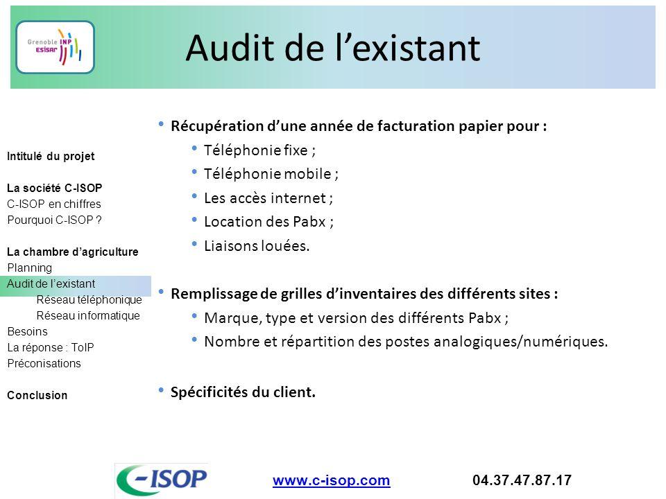Audit de l'existant www.c-isop.comwww.c-isop.com 04.37.47.87.17 Récupération d'une année de facturation papier pour : Téléphonie fixe ; Téléphonie mob
