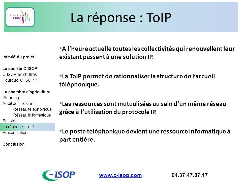 La réponse : ToIP www.c-isop.comwww.c-isop.com 04.37.47.87.17 Intitulé du projet La société C-ISOP C-ISOP en chiffres Pourquoi C-ISOP ? La chambre d'a