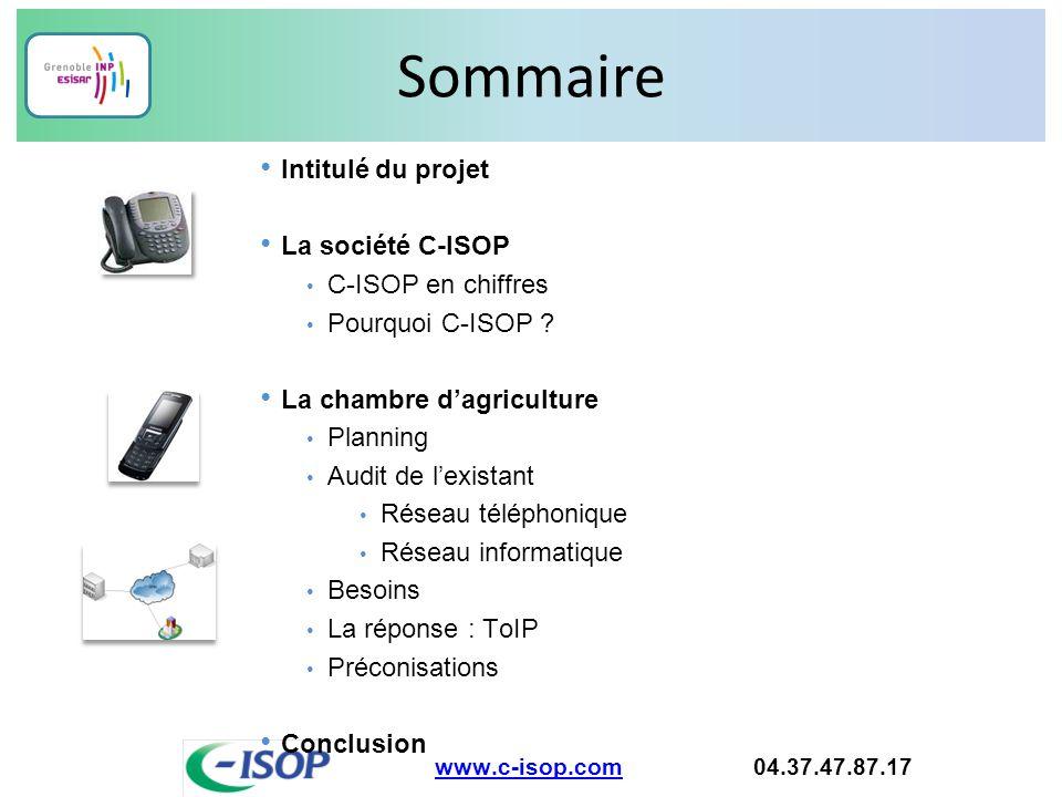 Sommaire www.c-isop.comwww.c-isop.com 04.37.47.87.17 Intitulé du projet La société C-ISOP C-ISOP en chiffres Pourquoi C-ISOP ? La chambre d'agricultur