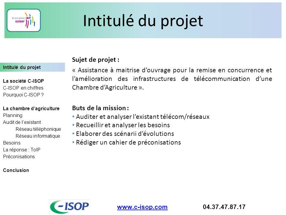 Intitulé du projet www.c-isop.comwww.c-isop.com 04.37.47.87.17 Intitulé du projet La société C-ISOP C-ISOP en chiffres Pourquoi C-ISOP ? La chambre d'