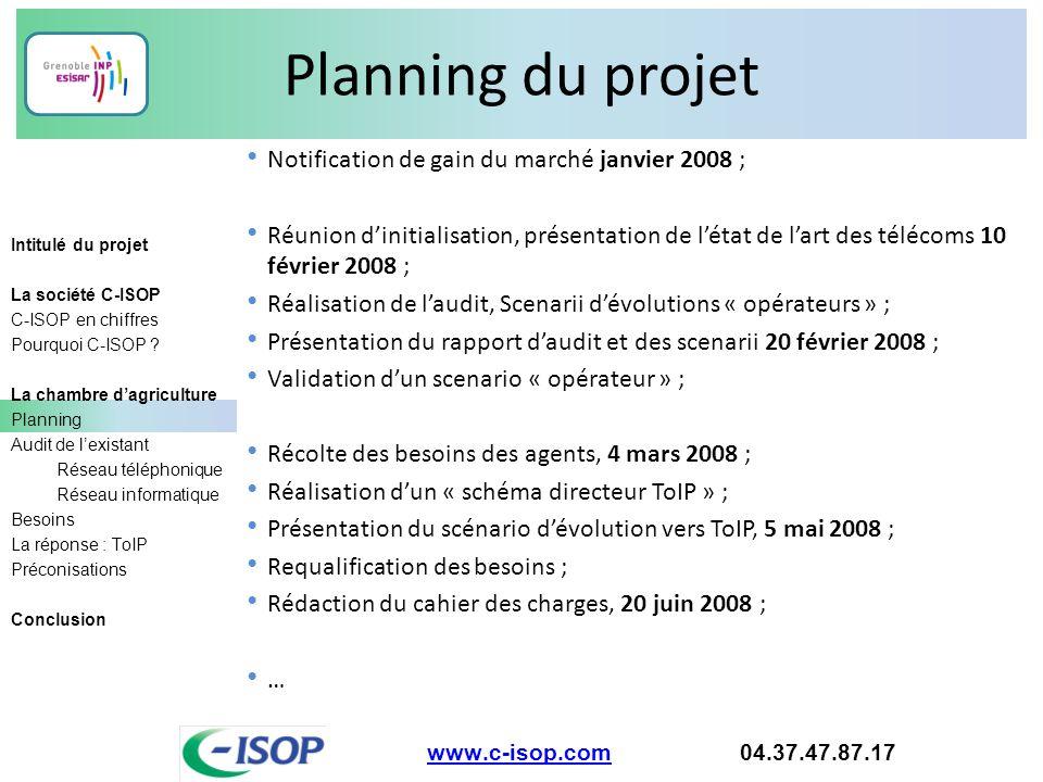 Planning du projet www.c-isop.comwww.c-isop.com 04.37.47.87.17 Intitulé du projet La société C-ISOP C-ISOP en chiffres Pourquoi C-ISOP ? La chambre d'