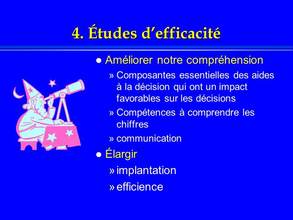 4. Études d'efficacité l Améliorer notre compréhension »Composantes essentielles des aides à la décision qui ont un impact favorables sur les décision