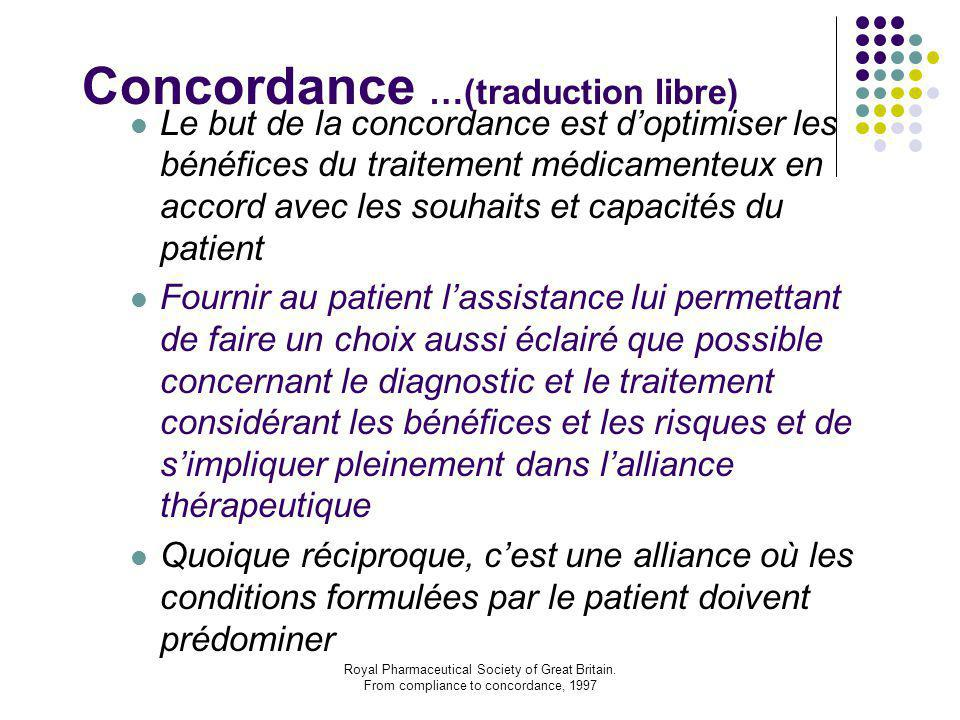 Royal Pharmaceutical Society of Great Britain. From compliance to concordance, 1997 Concordance …(traduction libre) Le but de la concordance est d'opt