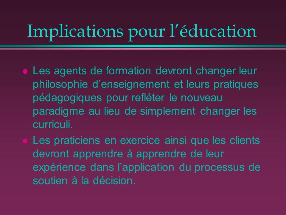 Implications pour l'éducation l Les agents de formation devront changer leur philosophie d'enseignement et leurs pratiques pédagogiques pour refléter