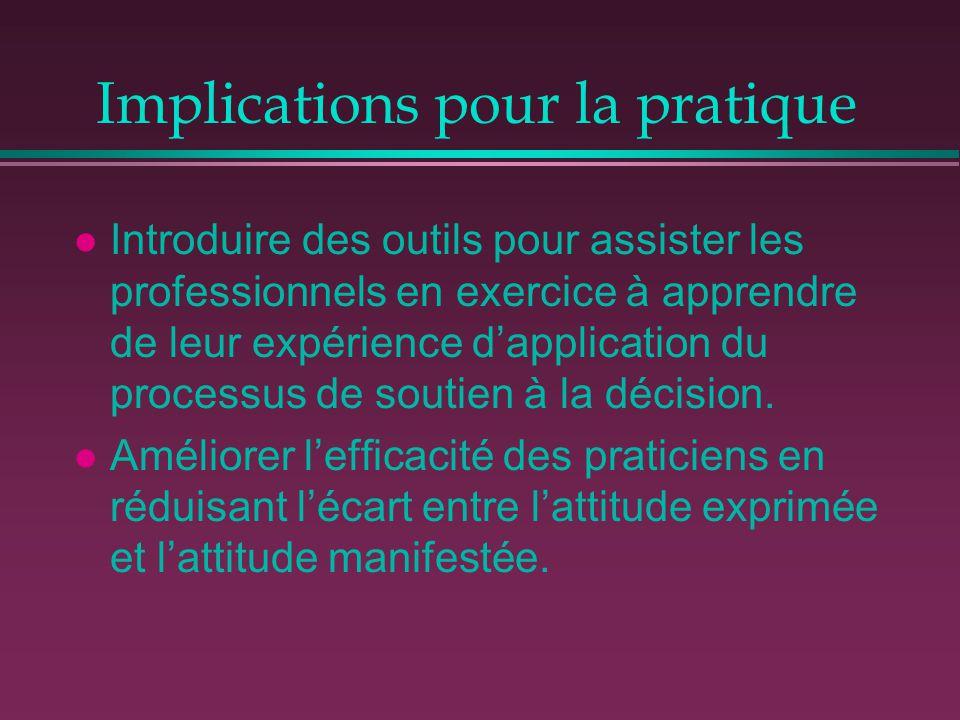 Implications pour la pratique l Introduire des outils pour assister les professionnels en exercice à apprendre de leur expérience d'application du pro