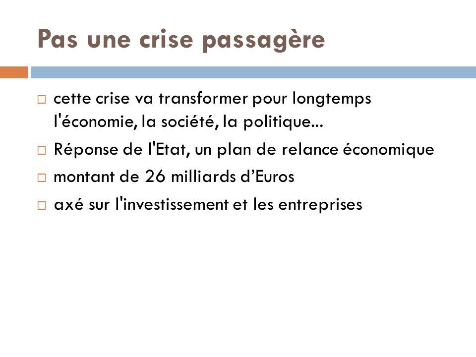 Pas une crise passagère  cette crise va transformer pour longtemps l'économie, la société, la politique...  Réponse de l'Etat, un plan de relance éc