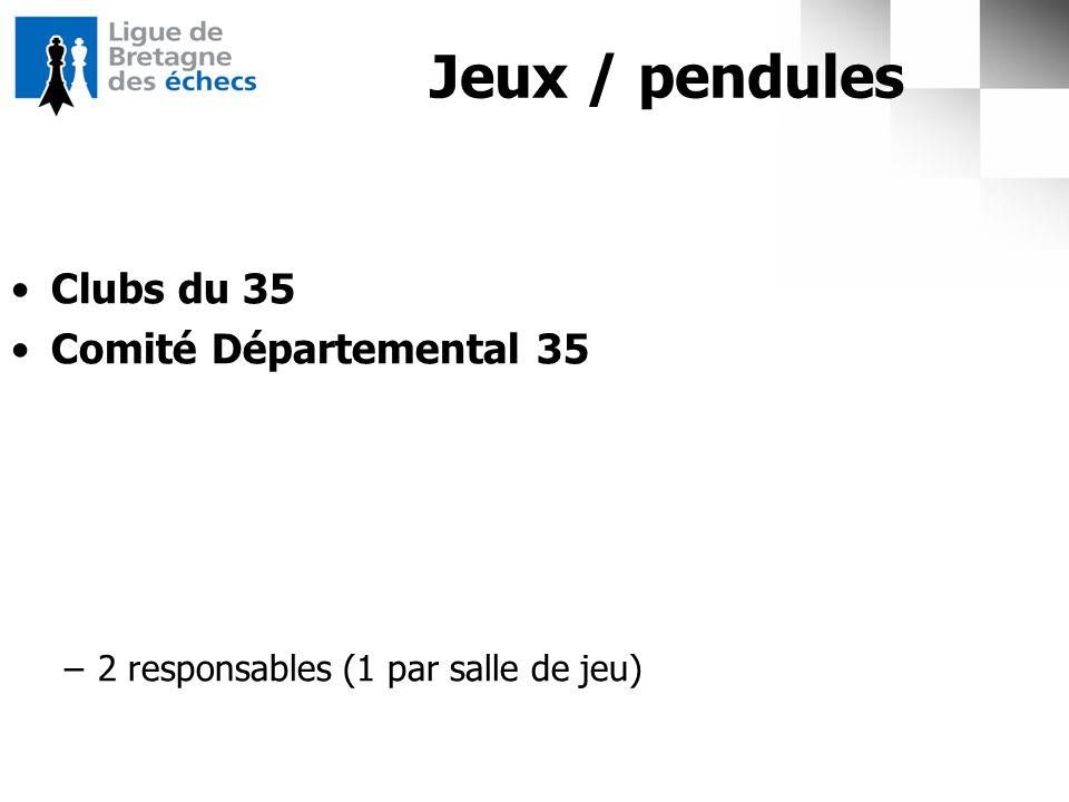 Jeux / pendules Clubs du 35 Comité Départemental 35 –2 responsables (1 par salle de jeu)