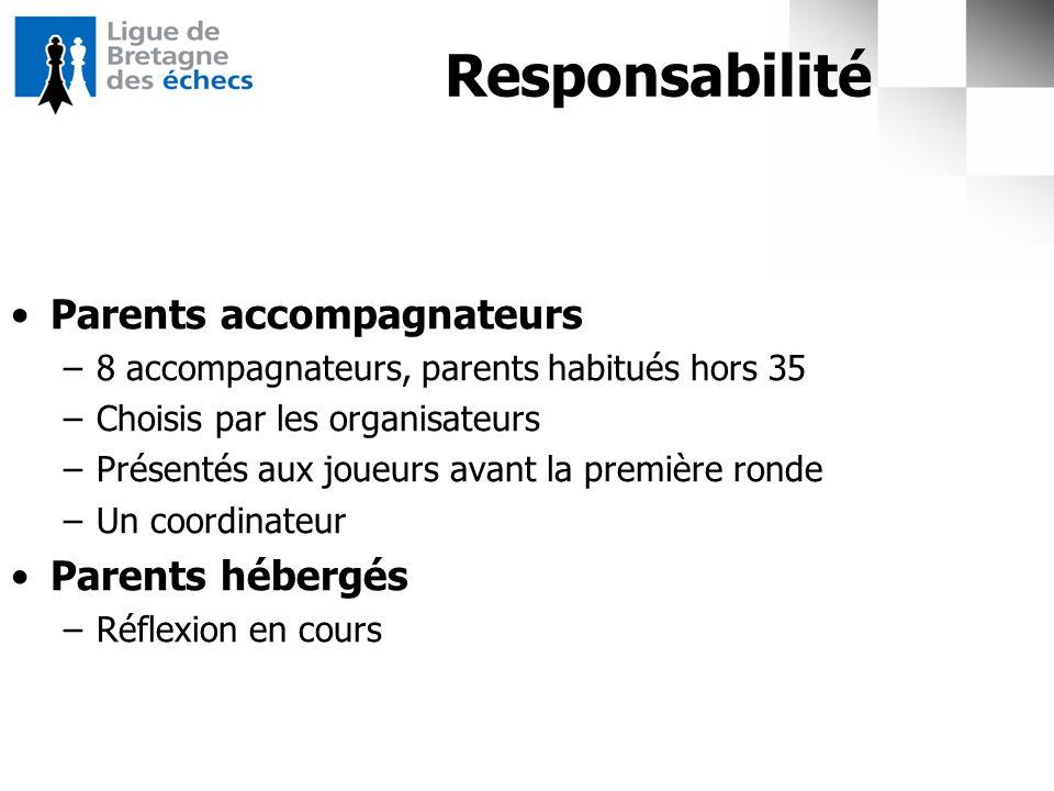 Responsabilité Parents accompagnateurs –8 accompagnateurs, parents habitués hors 35 –Choisis par les organisateurs –Présentés aux joueurs avant la pre