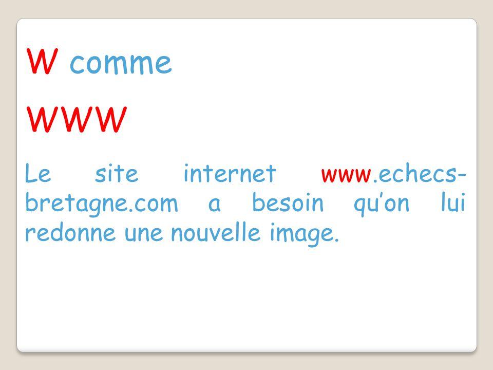 W comme WWW Le site internet www.echecs- bretagne.com a besoin qu'on lui redonne une nouvelle image.