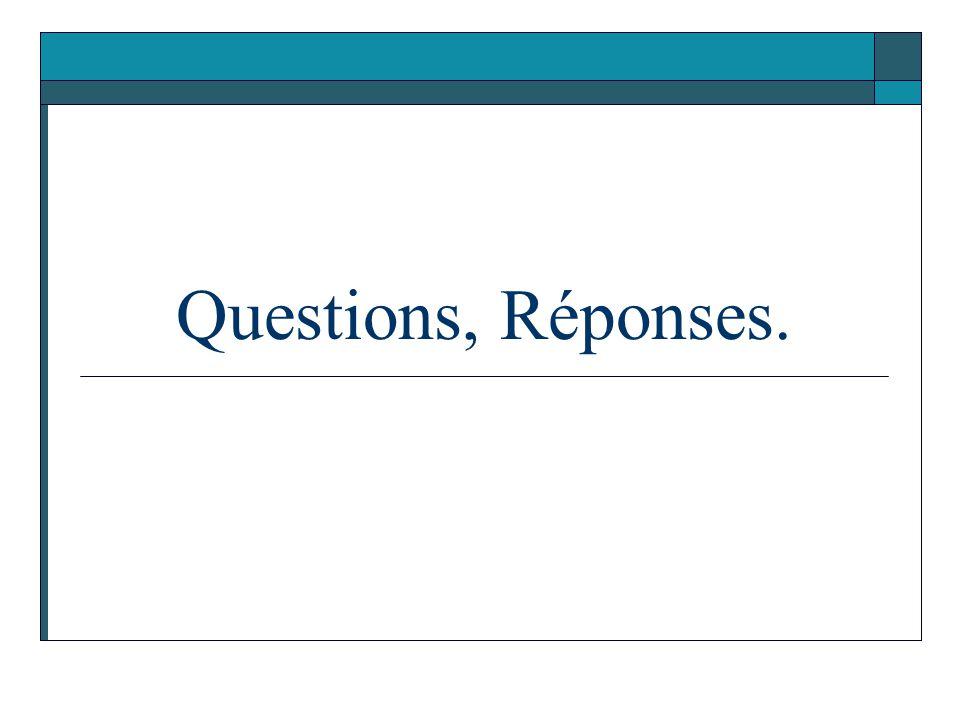 Questions, Réponses.