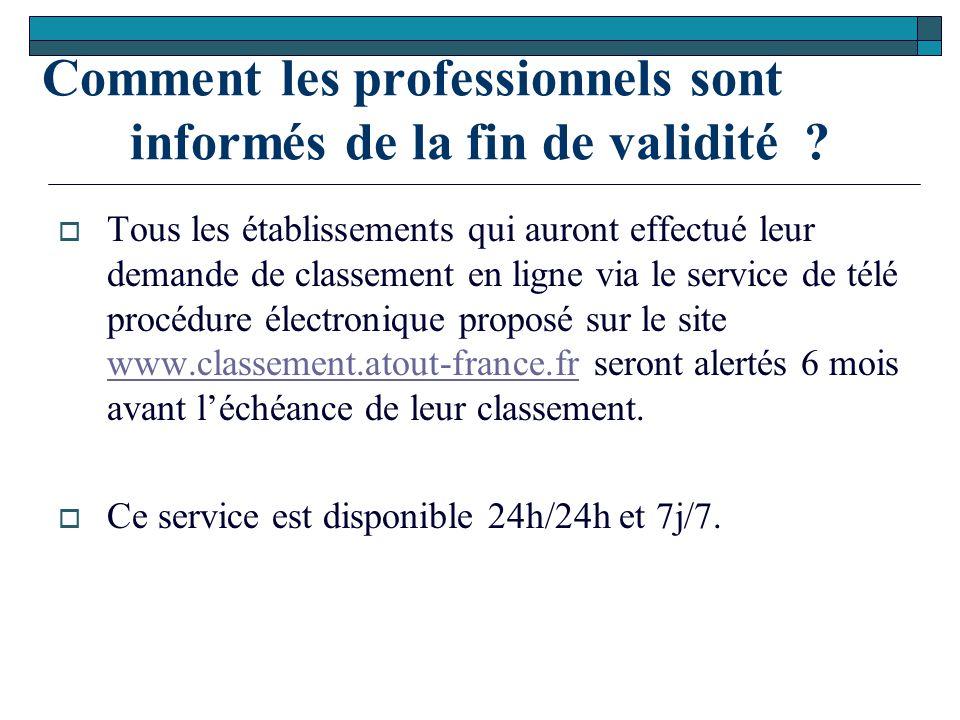 Comment les professionnels sont informés de la fin de validité ?  Tous les établissements qui auront effectué leur demande de classement en ligne via