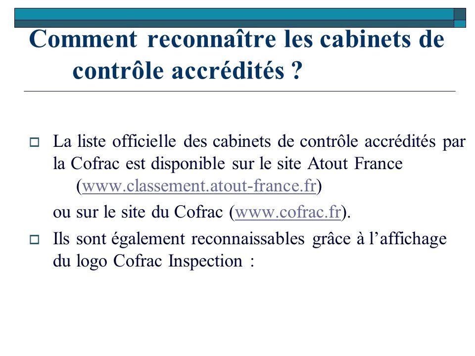 Comment reconnaître les cabinets de contrôle accrédités ?  La liste officielle des cabinets de contrôle accrédités par la Cofrac est disponible sur l