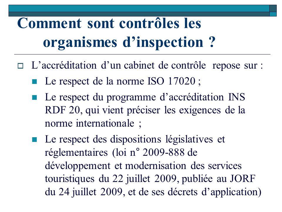 Comment sont contrôles les organismes d'inspection ?  L'accréditation d'un cabinet de contrôle repose sur : Le respect de la norme ISO 17020 ; Le res