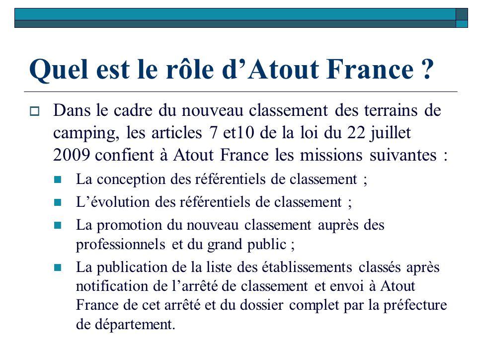Quel est le rôle d'Atout France ?  Dans le cadre du nouveau classement des terrains de camping, les articles 7 et10 de la loi du 22 juillet 2009 conf