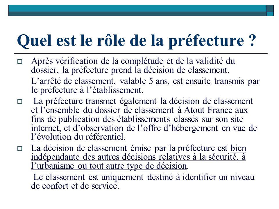 Quel est le rôle de la préfecture ?  Après vérification de la complétude et de la validité du dossier, la préfecture prend la décision de classement.