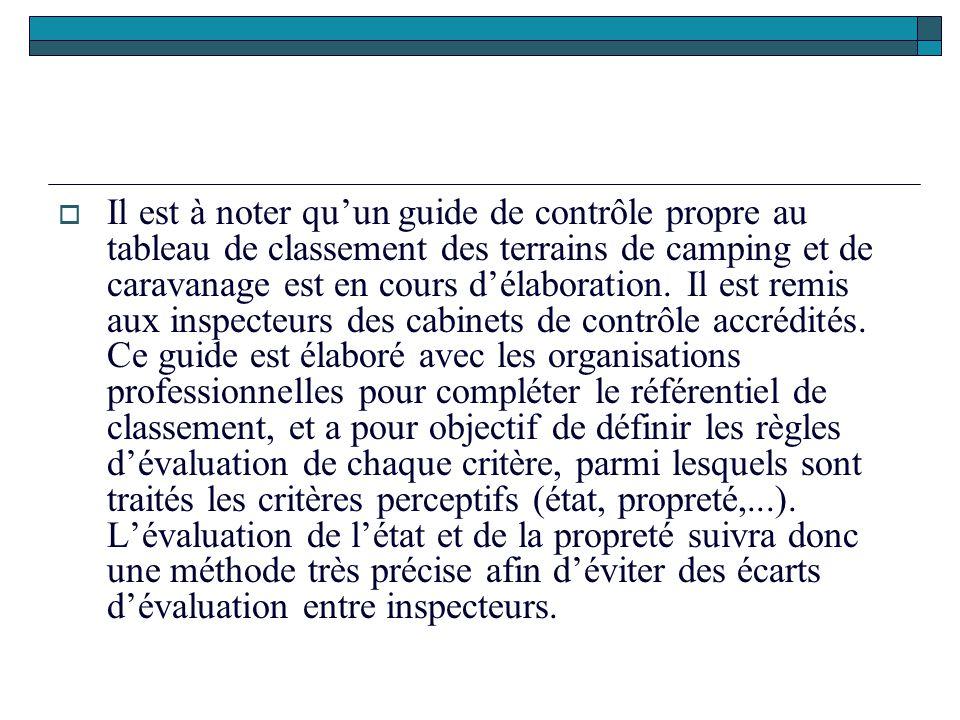  Il est à noter qu'un guide de contrôle propre au tableau de classement des terrains de camping et de caravanage est en cours d'élaboration. Il est r
