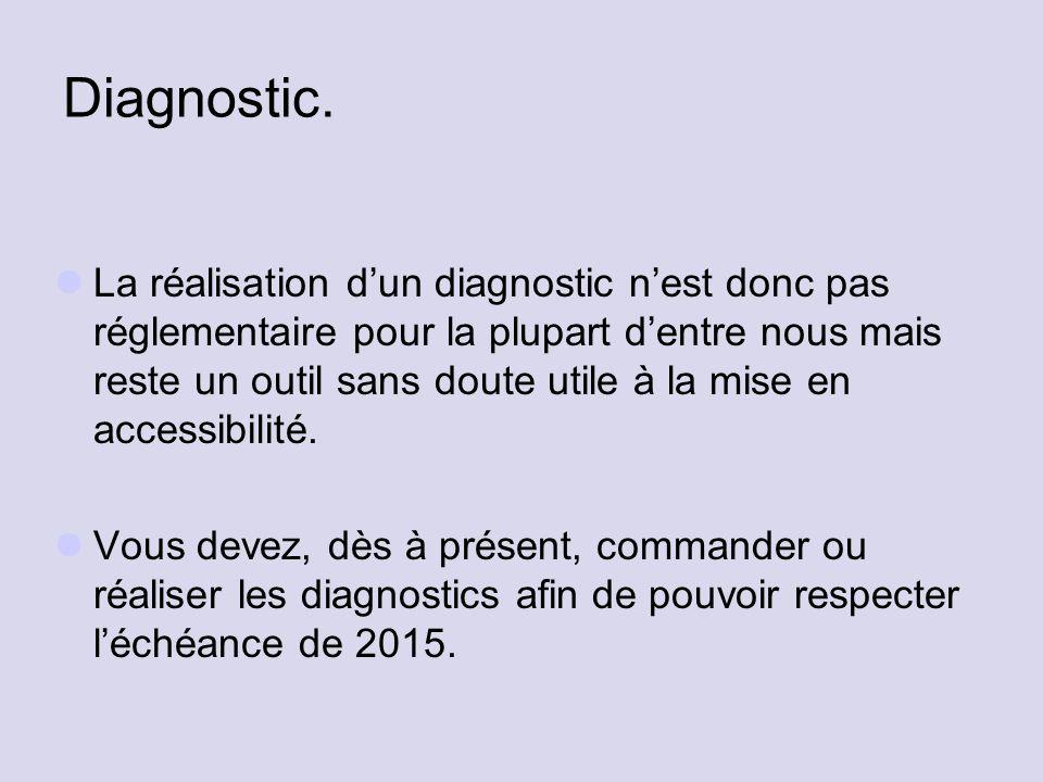 Diagnostic. La réalisation d'un diagnostic n'est donc pas réglementaire pour la plupart d'entre nous mais reste un outil sans doute utile à la mise en