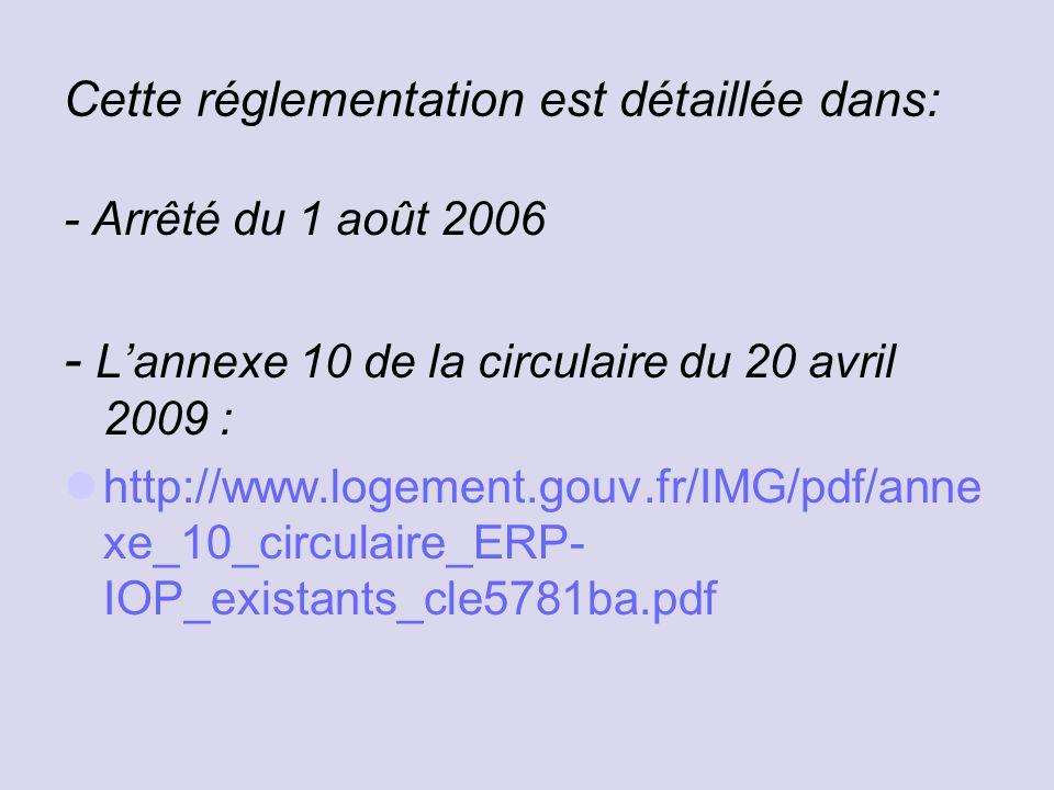 Cette réglementation est détaillée dans: - Arrêté du 1 août 2006 - L'annexe 10 de la circulaire du 20 avril 2009 : http://www.logement.gouv.fr/IMG/pdf