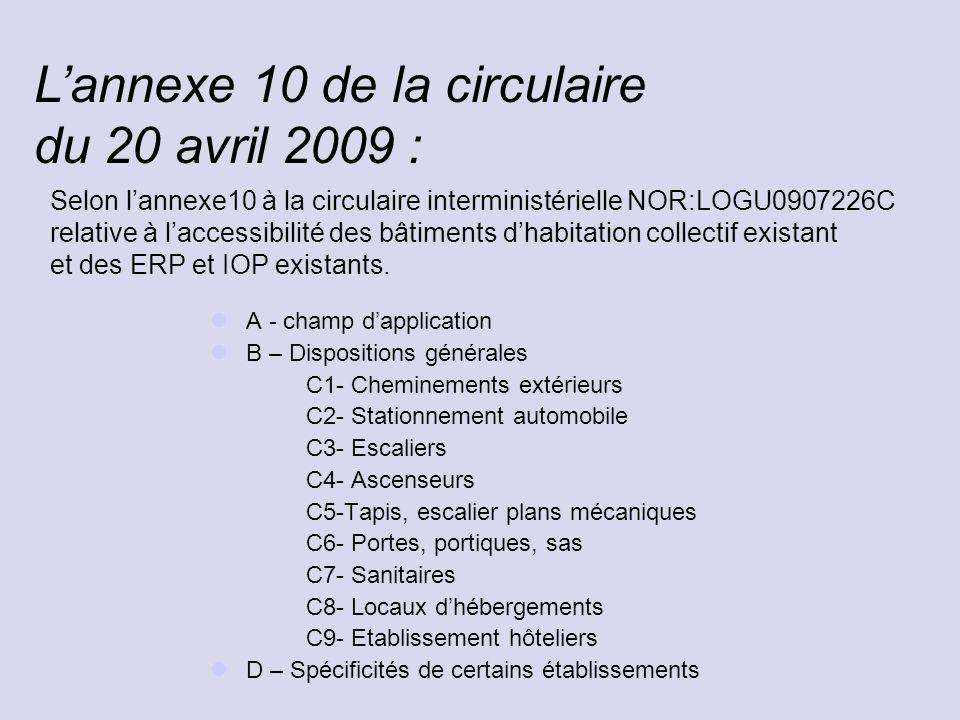 Selon l'annexe10 à la circulaire interministérielle NOR:LOGU0907226C relative à l'accessibilité des bâtiments d'habitation collectif existant et des E