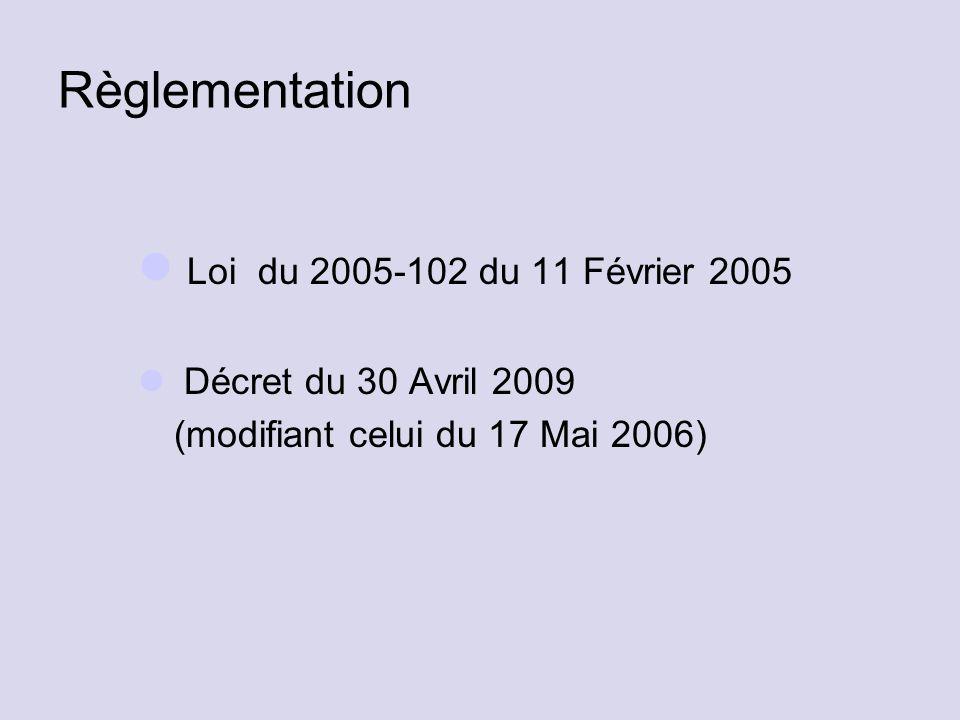 Règlementation Loi du 2005-102 du 11 Février 2005 Décret du 30 Avril 2009 (modifiant celui du 17 Mai 2006)