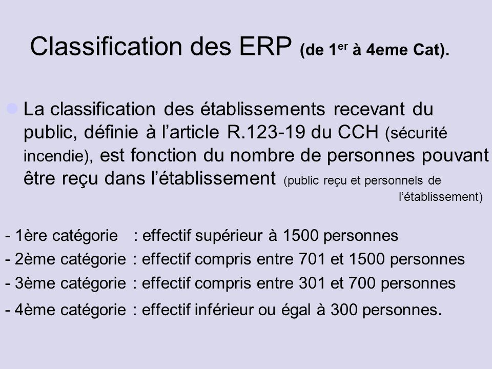 Classification des ERP (de 1 er à 4eme Cat).
