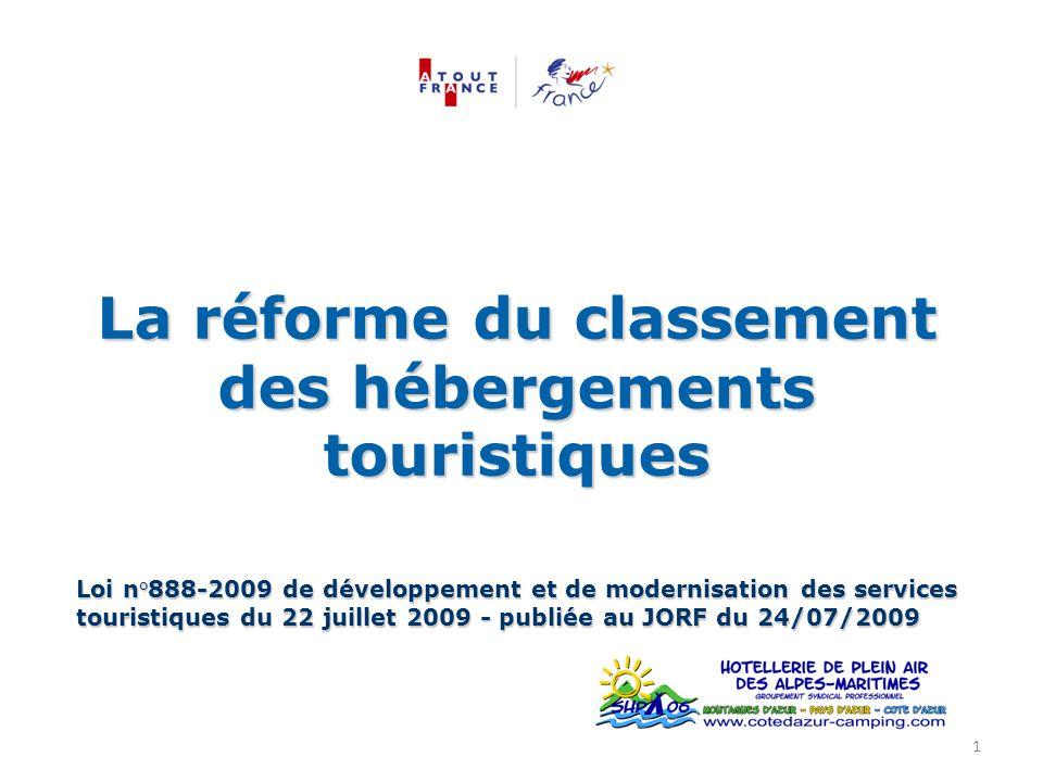 La réforme du classement des hébergements touristiques Loi n°888-2009 de développement et de modernisation des services touristiques du 22 juillet 200