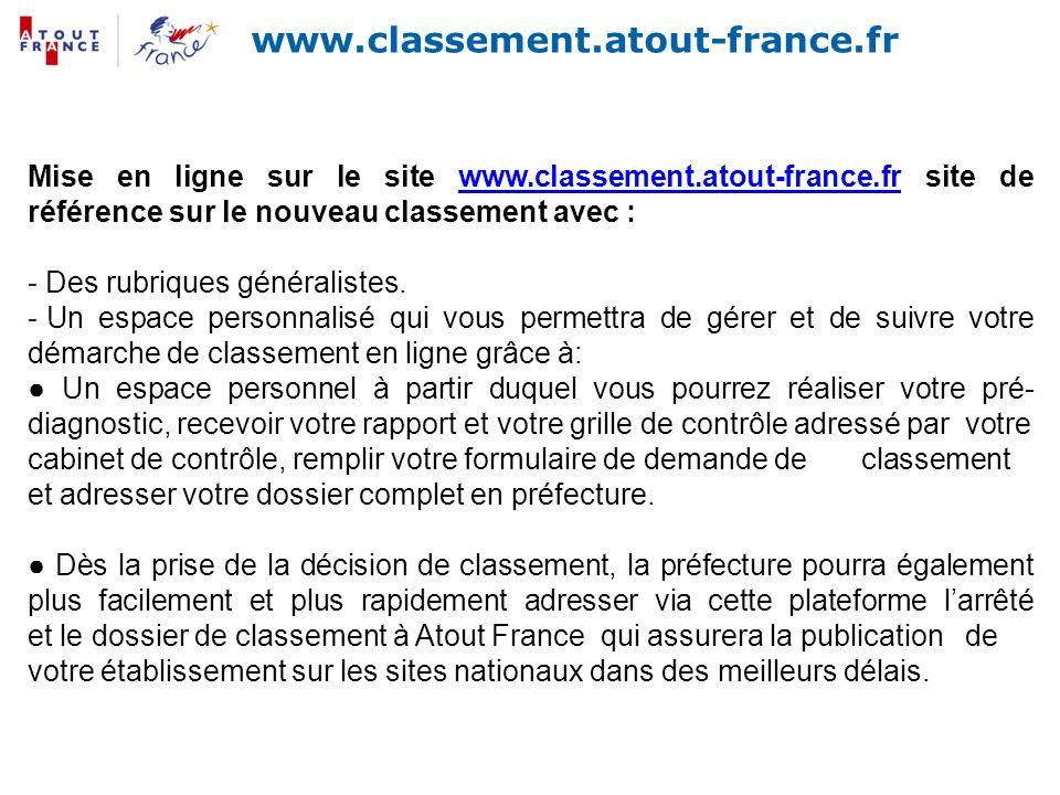 www.classement.atout-france.fr Mise en ligne sur le site www.classement.atout-france.fr site de référence sur le nouveau classement avec :www.classeme