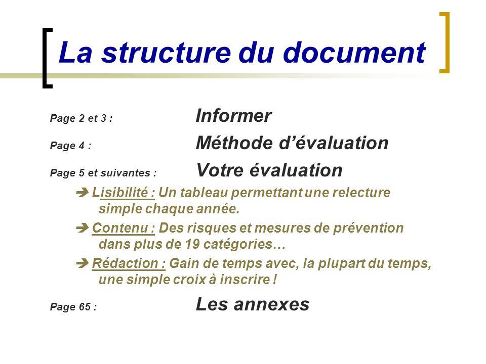 Page 2 et 3 : Informer Page 4 : Méthode d'évaluation Page 5 et suivantes : Votre évaluation  Lisibilité : Un tableau permettant une relecture simple