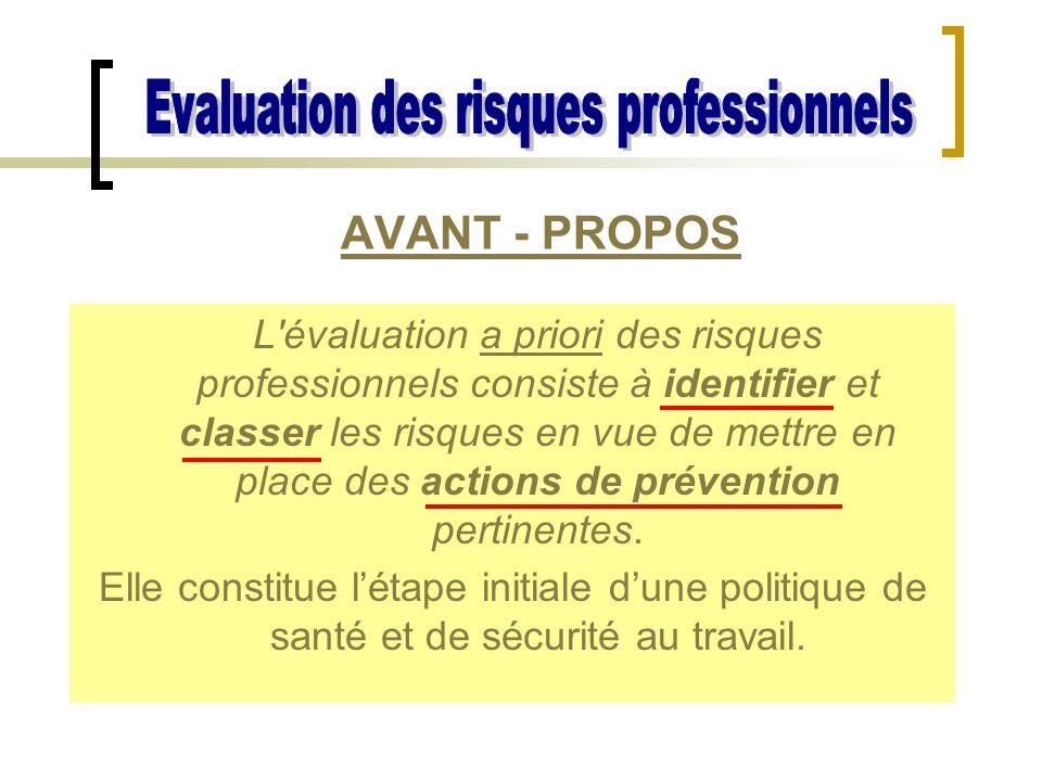L'évaluation a priori des risques professionnels consiste à identifier et classer les risques en vue de mettre en place des actions de prévention pert