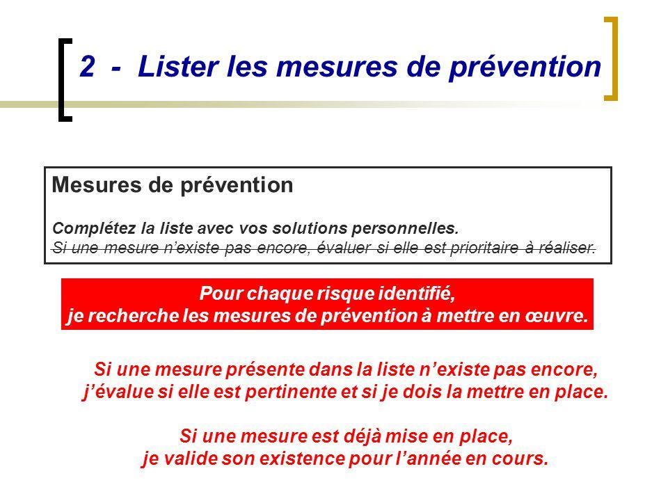 2 - Lister les mesures de prévention Mesures de prévention Complétez la liste avec vos solutions personnelles. Si une mesure n'existe pas encore, éval