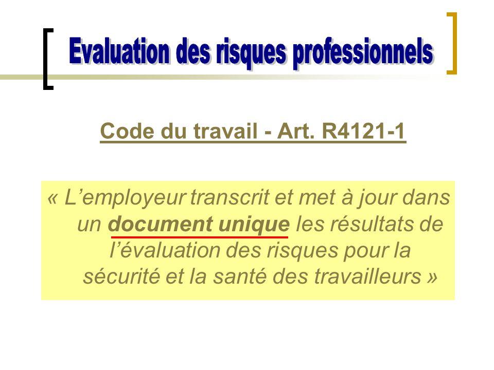 « L'employeur transcrit et met à jour dans un document unique les résultats de l'évaluation des risques pour la sécurité et la santé des travailleurs