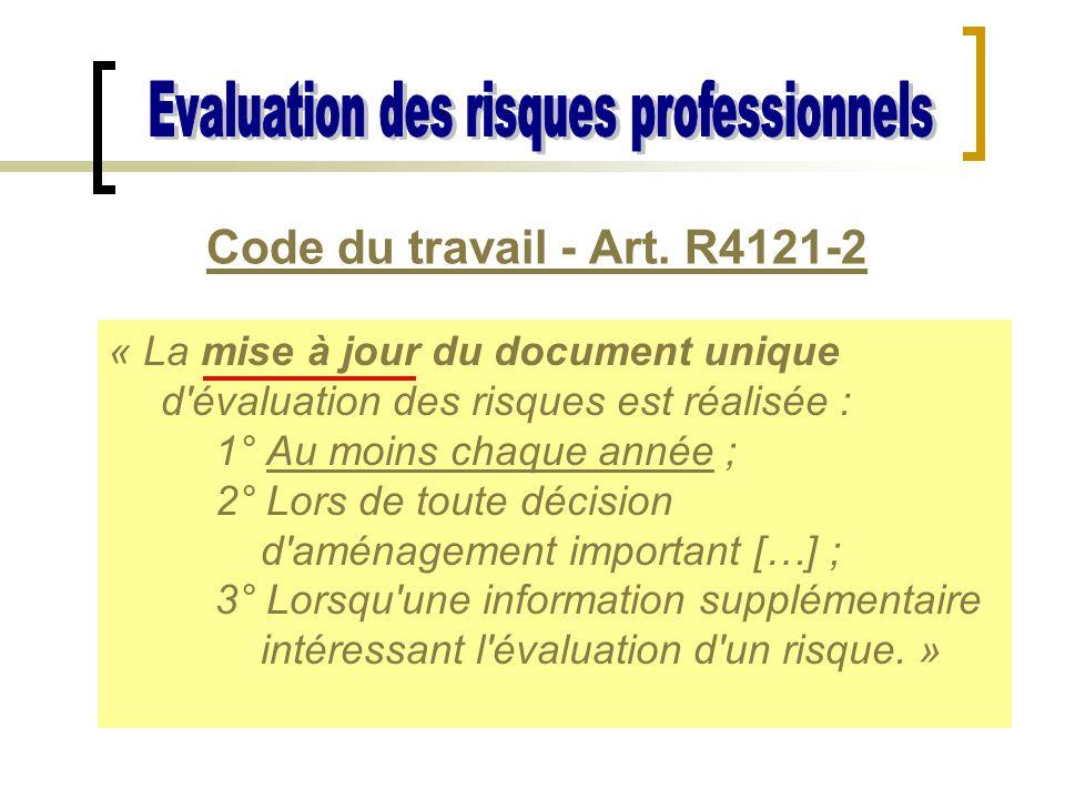 Code du travail - Art. R4121-2 « La mise à jour du document unique d'évaluation des risques est réalisée : 1° Au moins chaque année ; 2° Lors de toute