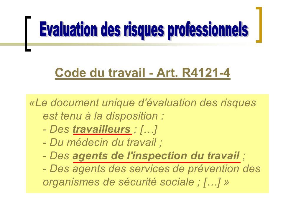 Code du travail - Art. R4121-4 «Le document unique d'évaluation des risques est tenu à la disposition : - Des travailleurs ; […] - Du médecin du trava