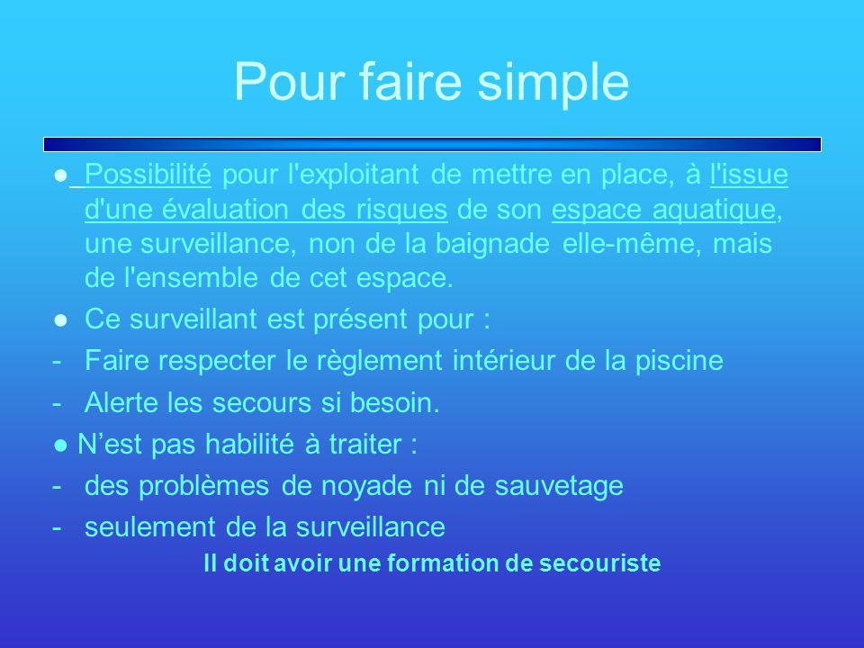 Pour faire simple ●Possibilité pour l'exploitant de mettre en place, à l'issue d'une évaluation des risques de son espace aquatique, une surveillance,