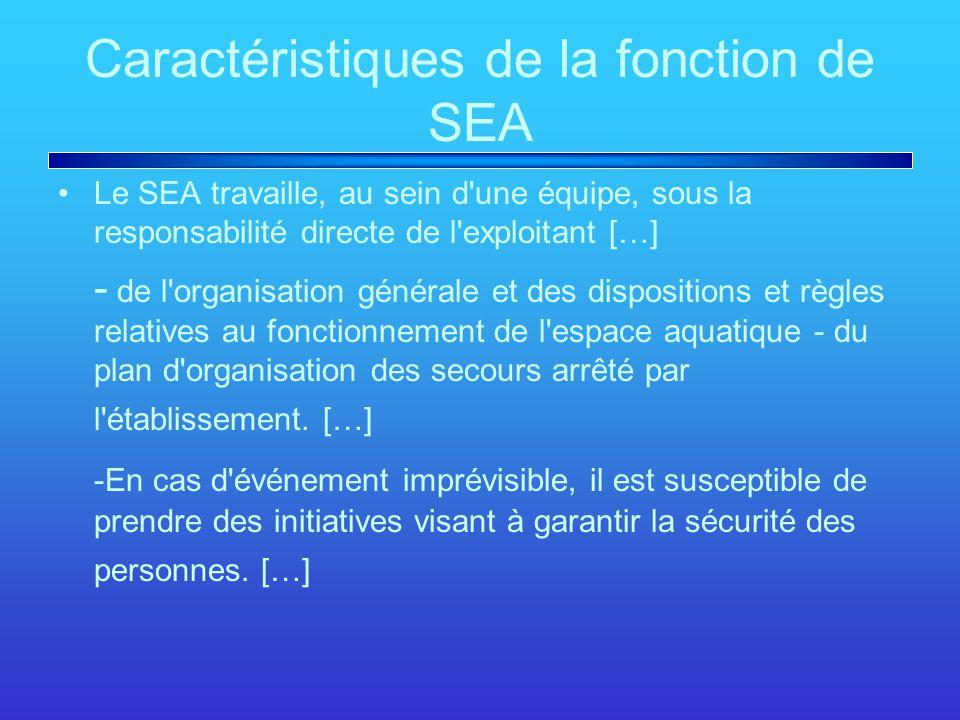 Caractéristiques de la fonction de SEA Le SEA travaille, au sein d une équipe, sous la responsabilité directe de l exploitant […] - de l organisation générale et des dispositions et règles relatives au fonctionnement de l espace aquatique - du plan d organisation des secours arrêté par l établissement.