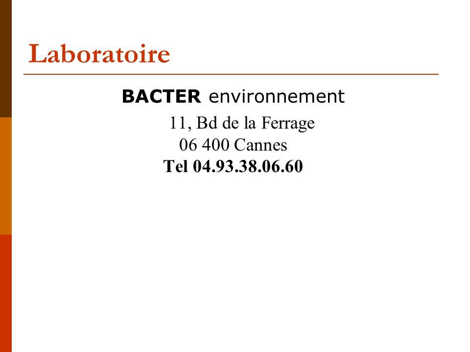 Laboratoire BACTER environnement 11, Bd de la Ferrage 06 400 Cannes Tel 04.93.38.06.60