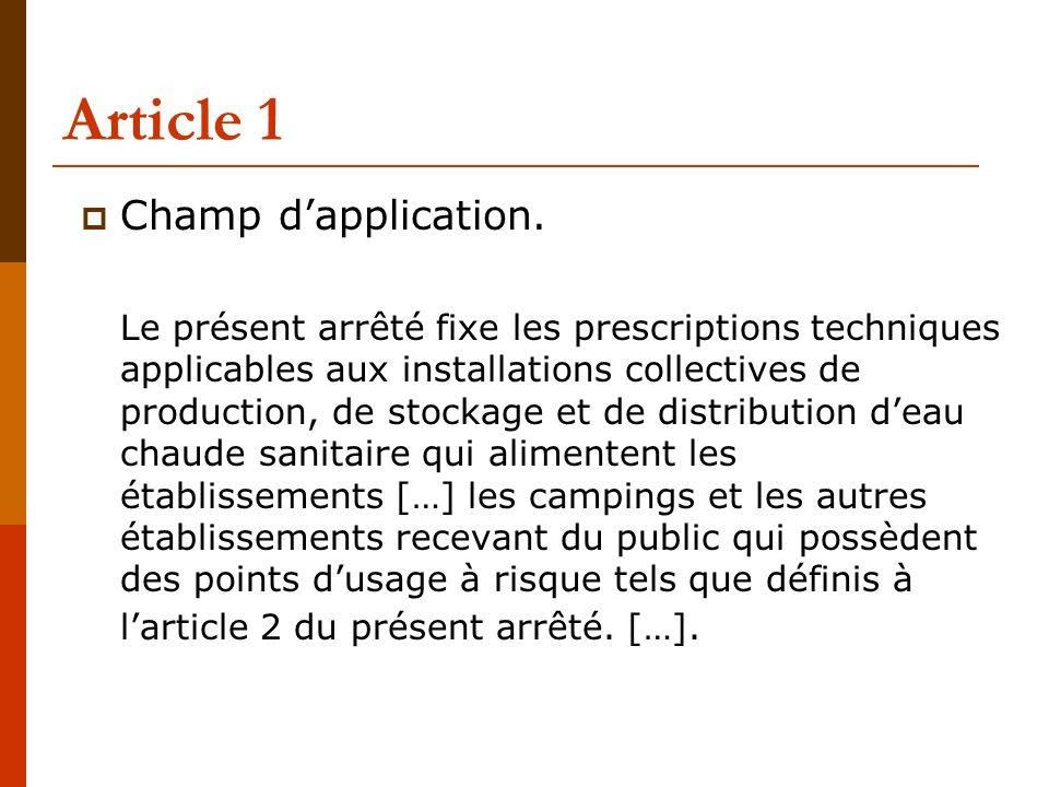 Article 1  Champ d'application.