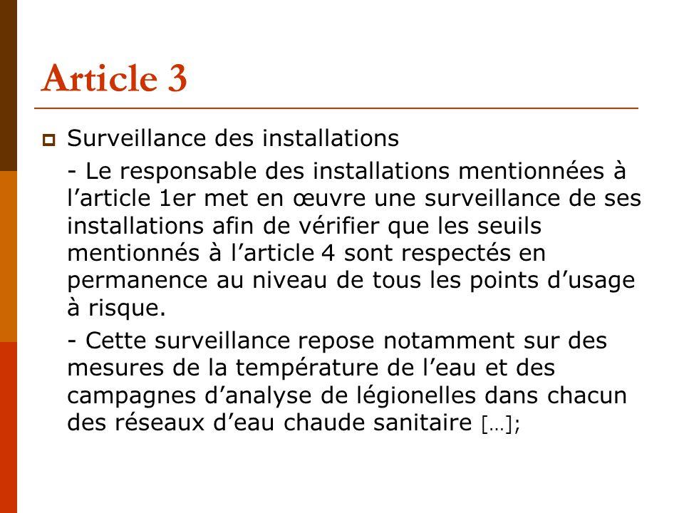 Article 3  Surveillance des installations - Le responsable des installations mentionnées à l'article 1er met en œuvre une surveillance de ses installations afin de vérifier que les seuils mentionnés à l'article 4 sont respectés en permanence au niveau de tous les points d'usage à risque.