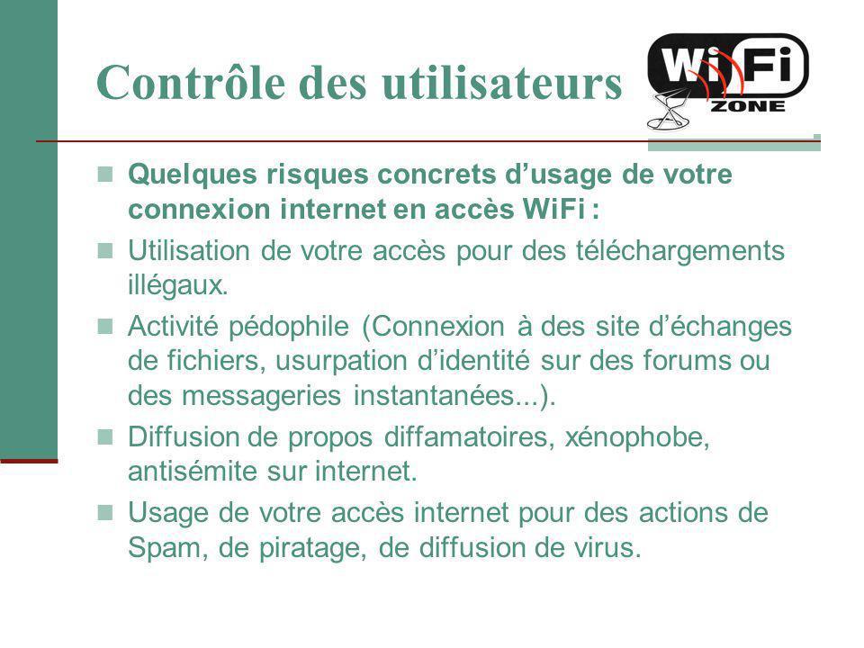 Contrôle des utilisateurs Quelques risques concrets d'usage de votre connexion internet en accès WiFi : Utilisation de votre accès pour des télécharge