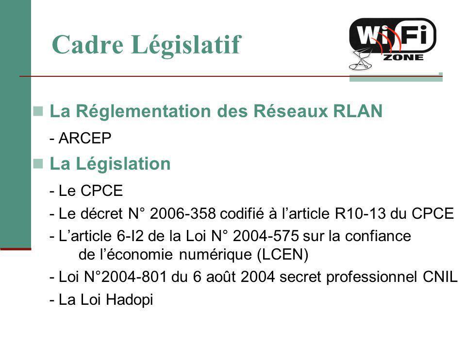Cadre Législatif La Réglementation des Réseaux RLAN - ARCEP La Législation - Le CPCE - Le décret N° 2006-358 codifié à l'article R10-13 du CPCE - L'ar