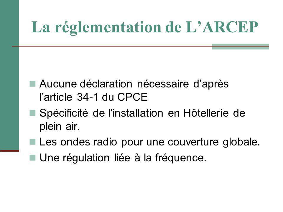 La réglementation de L'ARCEP Aucune déclaration nécessaire d'après l'article 34-1 du CPCE Spécificité de l'installation en Hôtellerie de plein air. Le