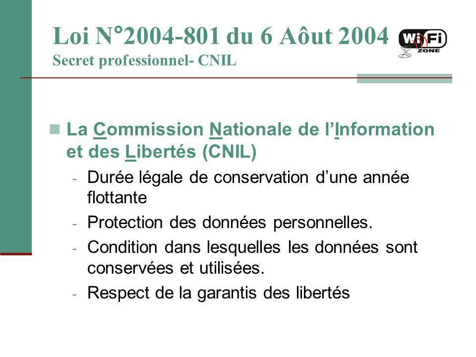 Loi N°2004-801 du 6 Aôut 2004 Secret professionnel- CNIL La Commission Nationale de l'Information et des Libertés (CNIL) - Durée légale de conservatio