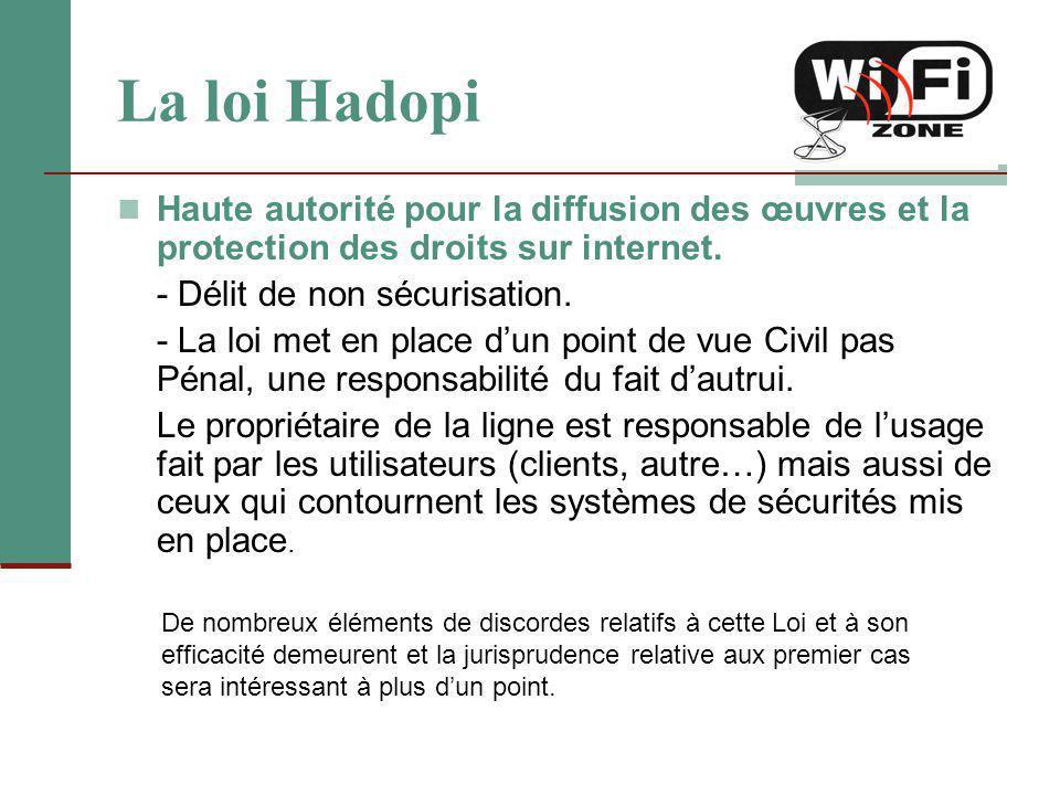 La loi Hadopi Haute autorité pour la diffusion des œuvres et la protection des droits sur internet. - Délit de non sécurisation. - La loi met en place