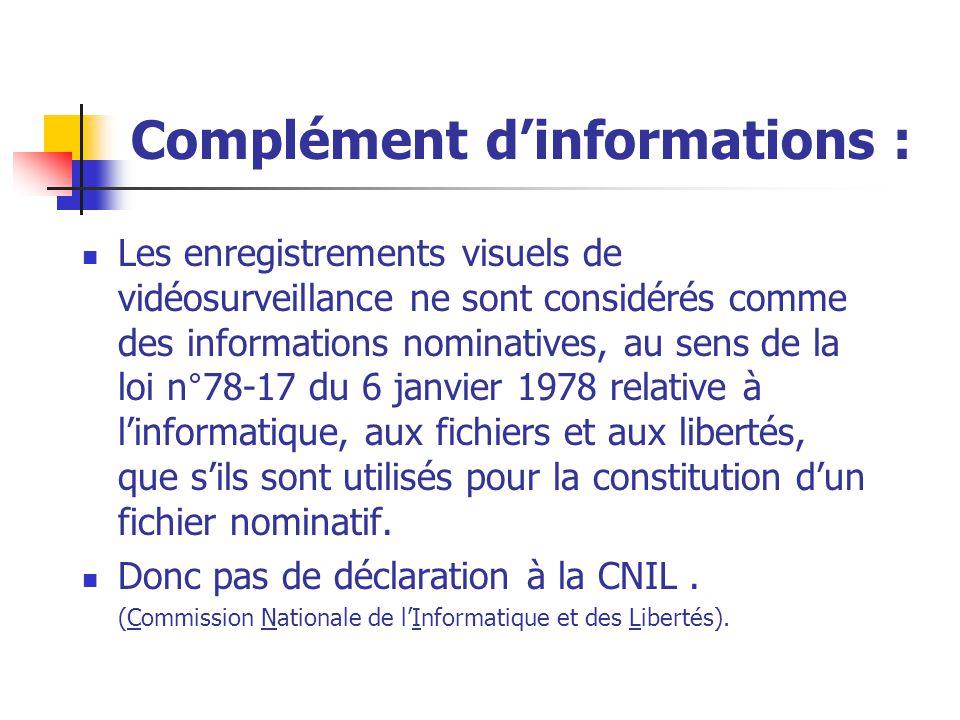 Complément d'informations : Les enregistrements visuels de vidéosurveillance ne sont considérés comme des informations nominatives, au sens de la loi