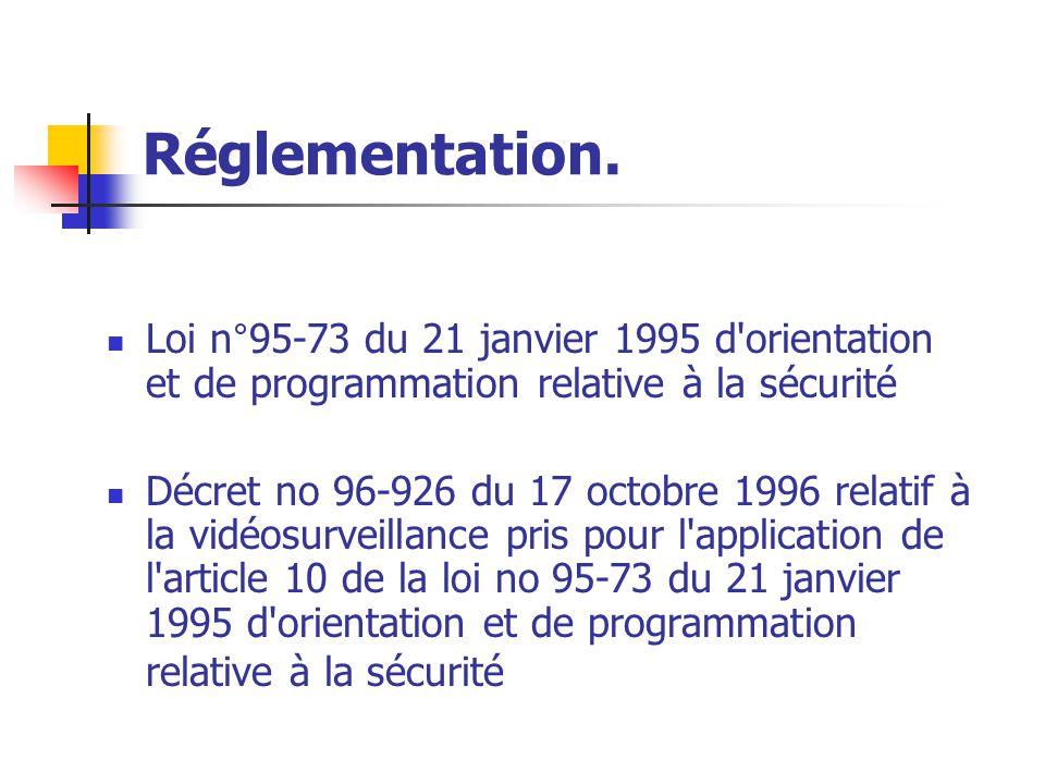 Réglementation. Loi n°95-73 du 21 janvier 1995 d'orientation et de programmation relative à la sécurité Décret no 96-926 du 17 octobre 1996 relatif à