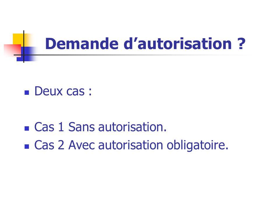 Demande d'autorisation ? Deux cas : Cas 1 Sans autorisation. Cas 2 Avec autorisation obligatoire.