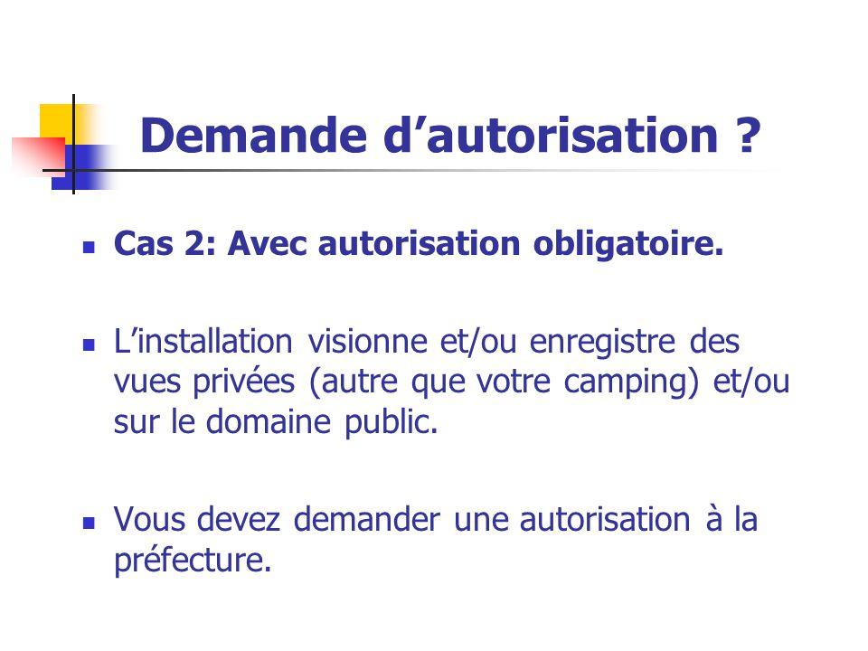 Cas 2: Avec autorisation obligatoire. L'installation visionne et/ou enregistre des vues privées (autre que votre camping) et/ou sur le domaine public.